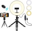 LED Ring Light with Tripod Stand and phone holder USB Dimmable 3 Light Modes & 10 Brightness 10W