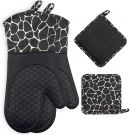 Oven Gloves Non-Slip Heat Resistant Silicone and Cotton, 1 Pair and 2 Pot Holders (Black)
