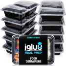Igluu 2 Compartment Meal Prep Containers Reusable BPA Free Microwavable, Freezer and Dishwasher Safe  (10 Pack)