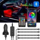 Car Interior LED Lighting 48 LED 7 colours Atmosphere Lighting with App Control And Remote Control USB Port Car Charger 12V