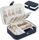Travel Jewellery Box for Rings Bracelets Earrings Necklaces PU Leather (16.5 x 11.5 x 5.5 cm)