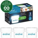 Aqua Optima Evolve 3 month pack, 3 x 30 day water filters - Fit BRITA, Maxtra, (not Maxtra+) - EVS301