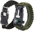 Paracord bracelet self-defence stainless steel knife with multi-tool, flint, compass, signal whistle, knife (2 pieces)