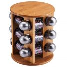 Renberg Wood Condiment with Stand Set, Natural/Silver (23 x 23 x 24cm)