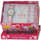 Ravel 'Little Gems' Butterfly Watch and Silver Plated Jewellery Set (R2217)