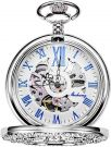 Unisex Pocket Watch with Chain Analogue Hand Winding Skeleton Magnifying Glass Half Hunter (Silver)