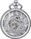 ManChDa Pocket Watch Lucky Dragon & Phoenix Vintage Mechanical (Silver)