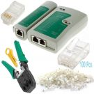 RJ45 Ethernet Network Cable Tester Crimper Stripper Cutter Tool Kit Set