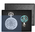 Vintage Silver Retro Dr Who Pocket Watch with Chain Mens Boys Necklace Pendant (Gift Box)