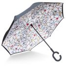TOOGE Mechanical Inverted/Reversible Windproof Umbrella Double Layer Inside-Out Self-Standing (Candy Tree)