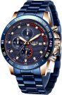 LIGE Waterproof Stainless Steel Business Dress Analog Quartz Wrist Watch (Blue-Gold)
