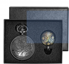 Vintage Black Retro Dr Who Pocket Watch with Chain Mens Boys Necklace Pendant (Gift Box)